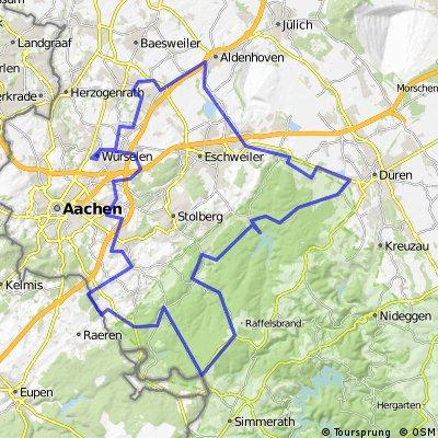 Runde über  Würselen, Düren, Lammersdorf, Rott, Lichtenbusch und zurück