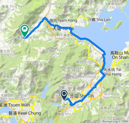 Route from 香粉寮街, 大圍
