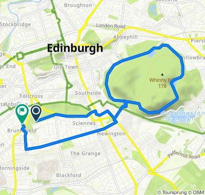 Route to 70 Leamington Terrace, Edinburgh
