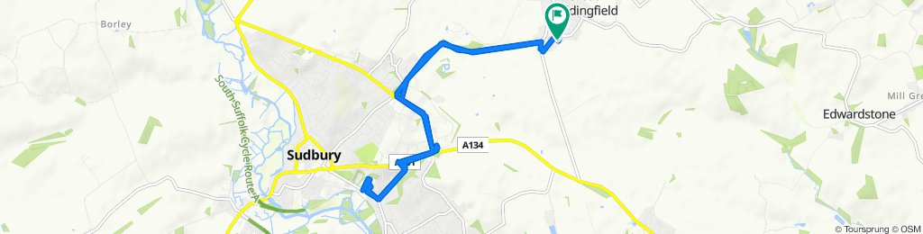 Route from Brandeston Close 35, Great Waldingfield