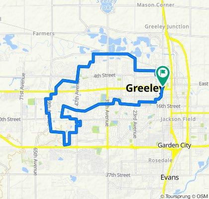 1114 Ninth St, Greeley to 1107 Ninth St, Greeley