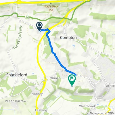 Route from The Hayloft, Puttenham Heath Road, Guildford
