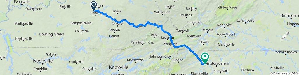 Harrodsburg to Yadkinville