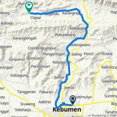 Gang Jati 14, Kecamatan Kebumen to Jalan Raya Gunungsari, Karanggayam