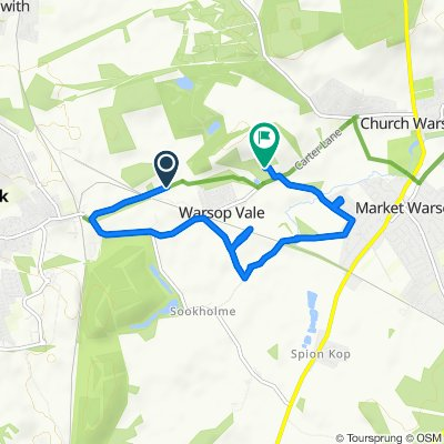 Route to 5 The Rocks, Mansfield