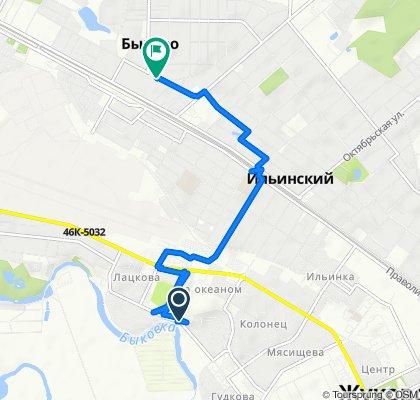 От улица Баженова 2А, Жуковский до улица Прудовая 45, Быково Рц