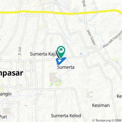 Jalan WR Supratman 109, Kecamatan Denpasar Timur to Jalan WR Supratman 117, Kecamatan Denpasar Timur