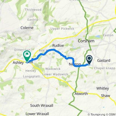 Route to Box House, Bath Road, Corsham