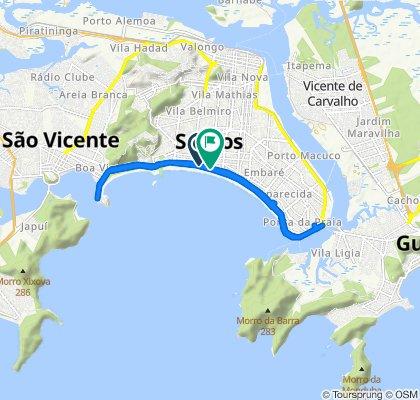 Route from Avenida Presidente Wilson, Santos