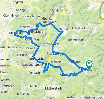 Vielbrunn - Bad König - Geisberg (Rimhorner Höhe) - Pfirschbach - Hummetroth - Höllerbach - Gumpersberger Höhe - Kinzigtal - Brombachtal - Zell - Weiten-Gesäß