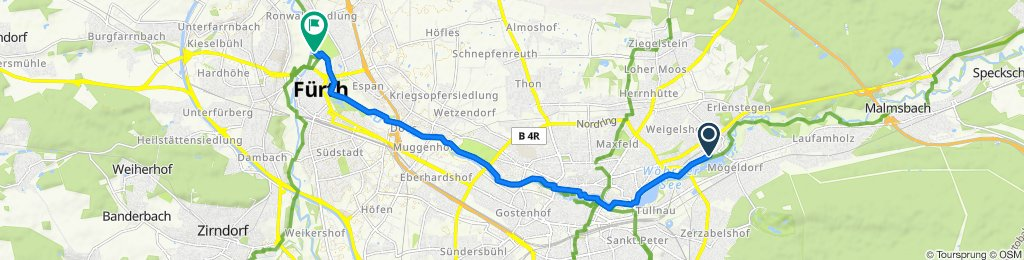 Doktor-Carlo-Schmid-Straße 178, Nürnberg to Friedhofsteg, Fürth