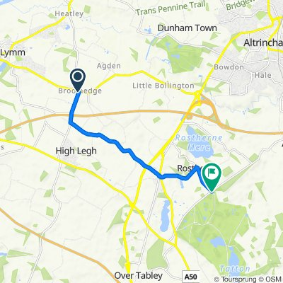 Route from 6 High Legh Road, Lymm