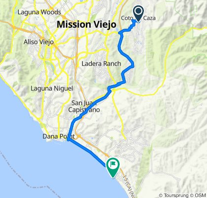 Route from 1–99 Castle Pines, Trabuco Canyon