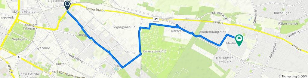 Kőrösi Csoma Sándor út 51, Budapest to Székicsér utca 13, Budapest