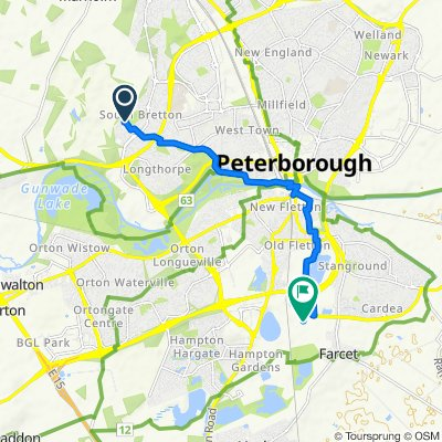 Route from 3 Teanby Court, Peterborough
