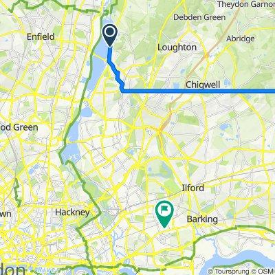 Sewardstone Road, London to 82–104 Parr Road, London