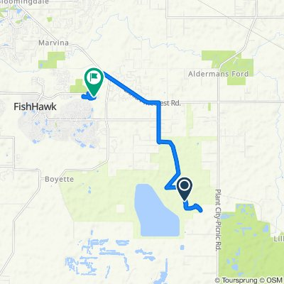 Route to 5668 Fishhawk Crossing Blvd, Lithia