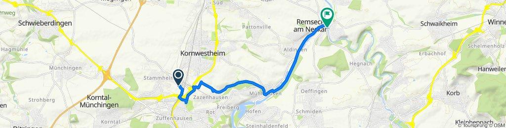 Segelfalterstraße 85A, Stuttgart nach Fellbacher Straße 2, Remseck am Neckar