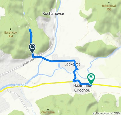 Stredná trasa Hažín nad Cirochou