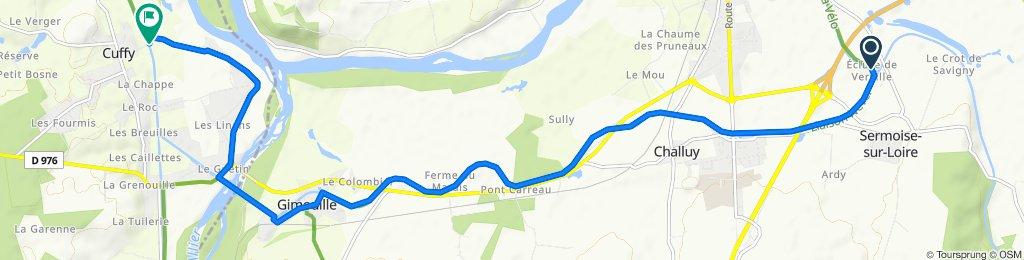 De Chemin de Halage, Sermoise-sur-Loire à Rue de la Chaume 5, Cuffy