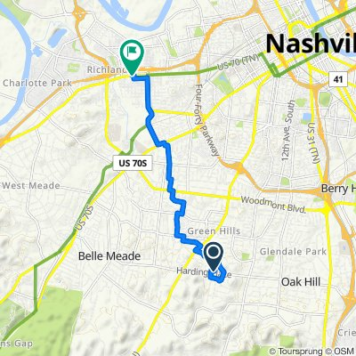 809 Huntington Cir, Nashville to 5010 Charlotte Ave, Nashville
