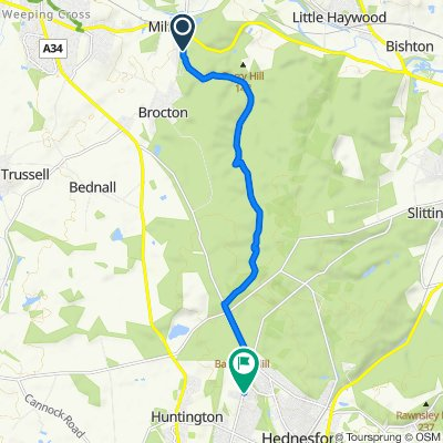 Route to 80 Bond Way, Cannock