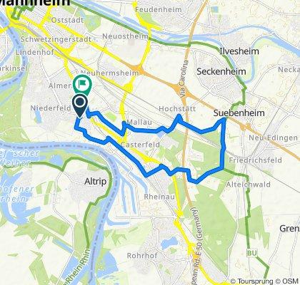 Friedrichstraße 24, Mannheim nach Fischerstraße 46, Mannheim