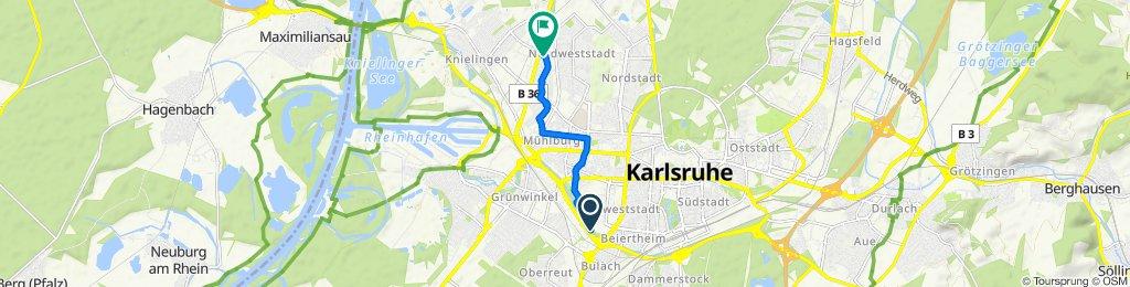 Langsame Fahrt in Karlsruhe