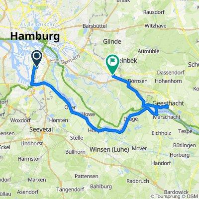 Wilhelmsburg - Bergedorf: via Südufer Elbe