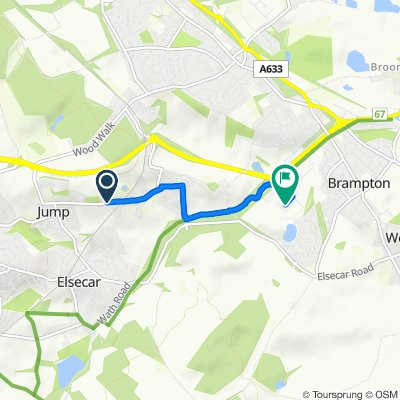 Route from 125 Cemetery Road, Barnsley
