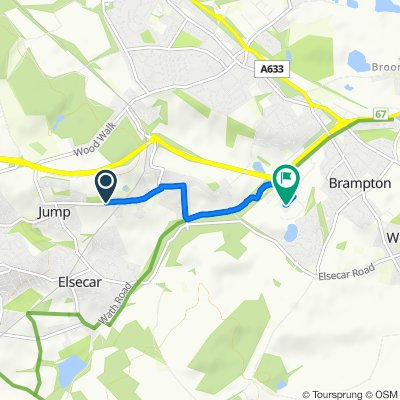Route from 127 Cemetery Road, Barnsley
