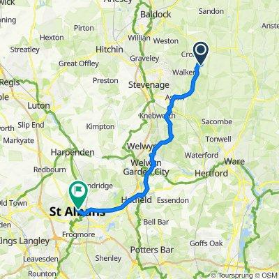 Route to 36 Market Place, St Albans