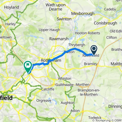 Route from 38 Barberry Way, Rotherham