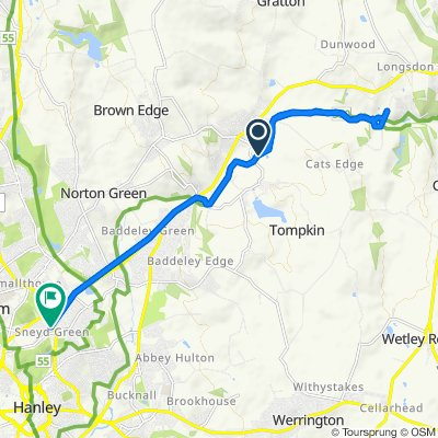 Route from The Quadrangle 12, Endon