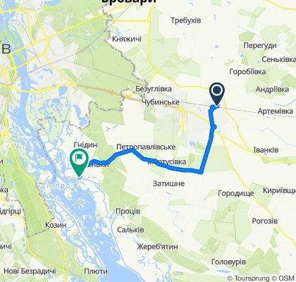 От вулиця Поповича 1, Бориспіль до вулиця Набережна, Вишеньки