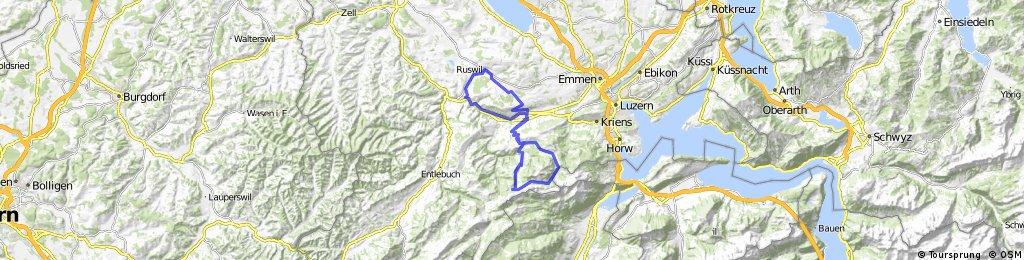 Ruswil - Malters - Schwarzenberg - Stäfeli - Trochmattegg - Eigenthal - Schwarzenberg - Malters - Werthenstein - Ruswil