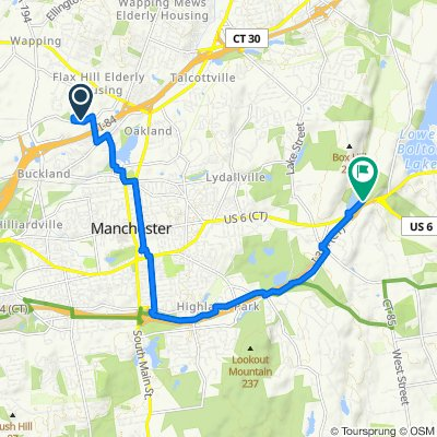 Route from 405–415 Buckland Hills Dr, Manchester