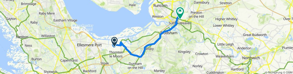 Route to 74 Masseyfield Road, Runcorn