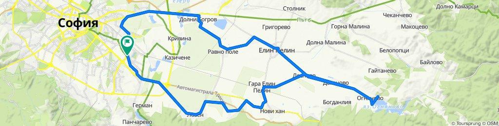 София - Елин Пелин - Лесново - яз.Огняново - София