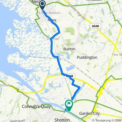 Route from School House, Burton Road, Neston