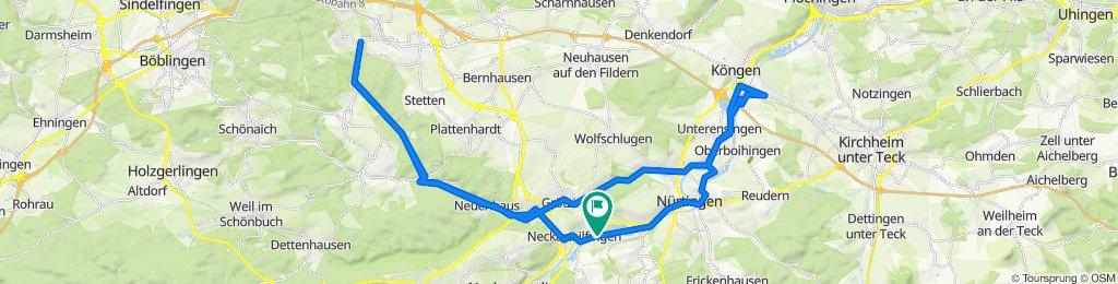 von Home über Wendlingen  Aichtal ins Siebenmühlental bis Musberg und zurück