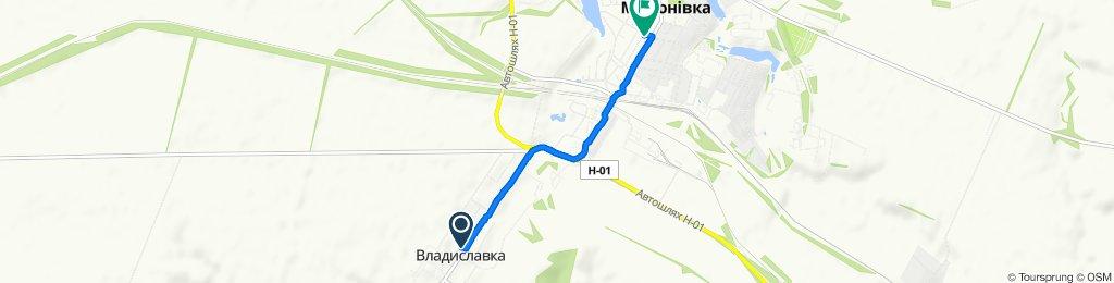 От вулиця Центральна 197, Владиславка до вулиця Соборності 33, Миронівка