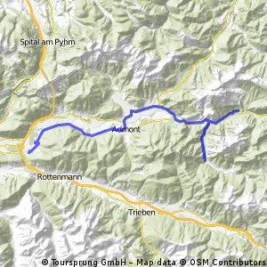 Selzthal - Johnsbach - Gstatterboden - Hochscheibenmountainbiketour +15,7km +626hm (15%durchschnitt, 27%maximum)- Hieflau