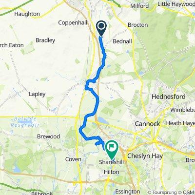 Lower Penkridge Road, Stafford to 10A School Lane, Wolverhampton
