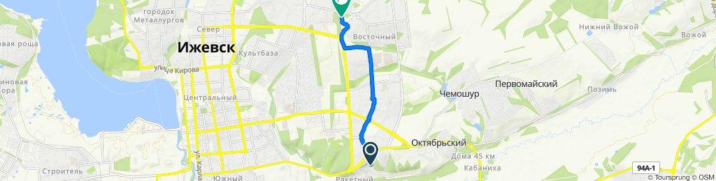 От Камбарский переулок 16, Ижевск до улица Ворошилова 82, Ижевск