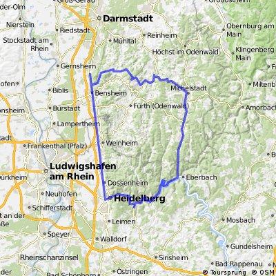 Map Zwingenberg Germany.Blutenweg Kirschhauschen Melibokus Bikemap Your Bike Routes