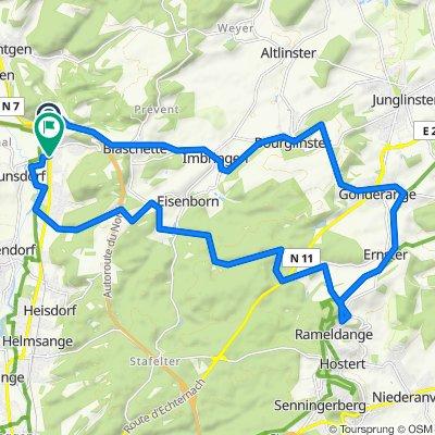 Op den Iessen 22A, Lorentzweiler to Route de Luxembourg 66, Lorentzweiler