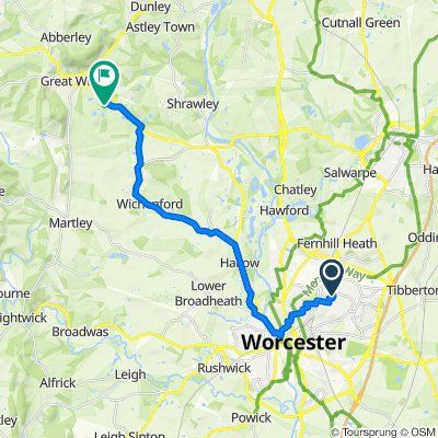 Route from 46 Saddlers Walk, Worcester