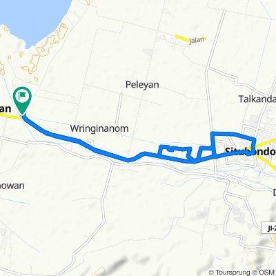 Route to Jalan Raya Panarukan, Kecamatan Panarukan