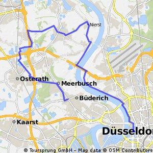 Düsseldorf Zentrum - Lohausen - Langst-Kierst- Lank - Bösinghoven - Bovert - Büderich Zentrum